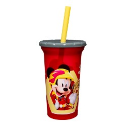 Disney Mickey Mouse Zak Designs Plastic Tumbler With Lid & Straw 15oz - Red/Yellow