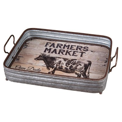 4 x12 x17.5  Wood and Galvanized Barn Tray Medium Silver - Foreside Home & Garden