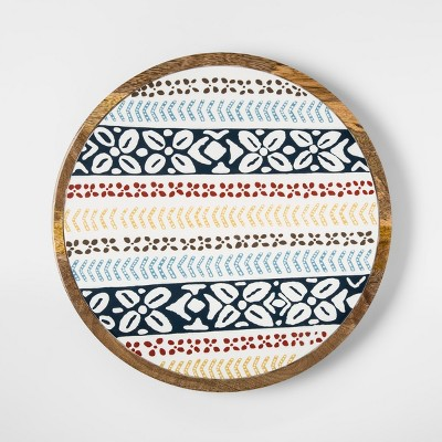 Mango Wood Round Serving Tray 14in Blue/Green - Threshold™