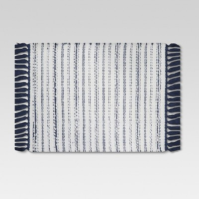 Woven Stripe Bath Rug White - Threshold™