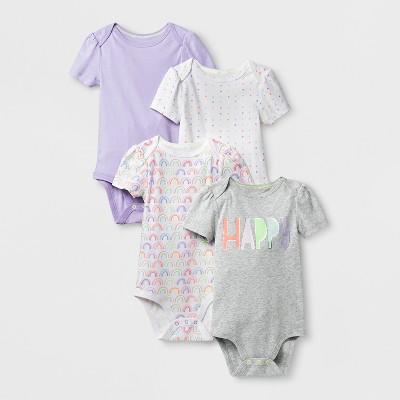 Baby Girls' 4pk Short Sleeve Bodysuit - Cloud Island™ White 3-6M