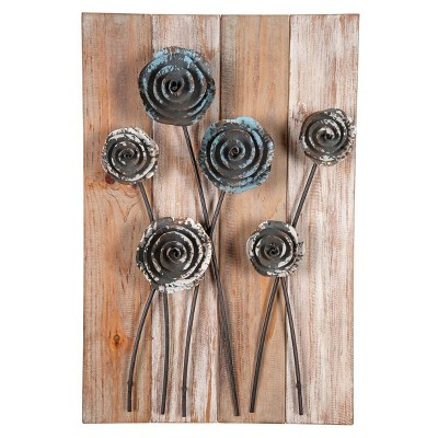 23.75 x3.5 x15.75  Metal Wood Wild Flower Wall Art Antique Wood - Foreside Home & Garden