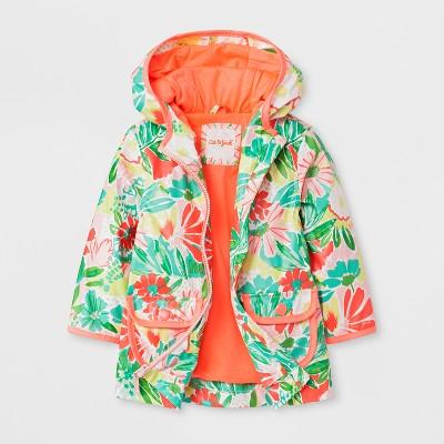 Toddler Girls' Floral Hooded Rain Jacket - Cat & Jack™ Pink 12M