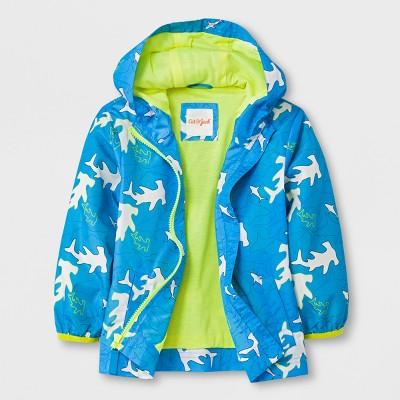 Toddler Boys' Sharks Hooded Windbreaker - Cat & Jack™ Blue 12M