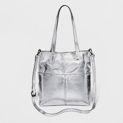 Women's Small Crossbody Tote With Pockets - Mossimo Supply Co.™ Silver Metallic