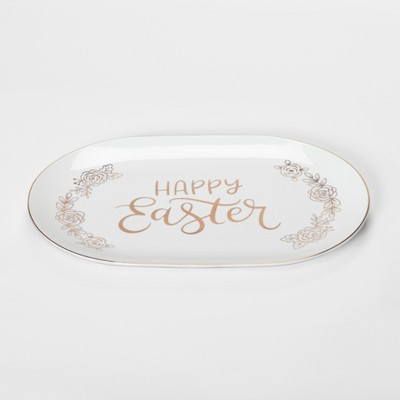 Happy Easter Oval Porcelain Platter White - Threshold™