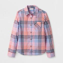 Girls' Long Sleeve Multi-Plaid Woven Button Up Shirt - Cat & Jack™