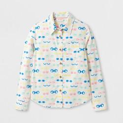 Girls' Long Sleeve Eyelash Print Woven Button Up Shirt - Cat & Jack™ Cream