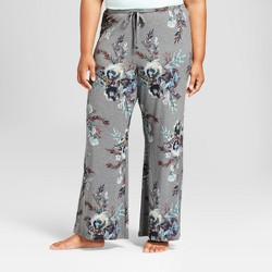 Women's Plus Size Total Comfort Wide Let Pajama Pants Gray Floral - Gilligan & O'Malley™
