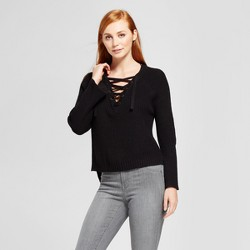 Women's Lace-Up Bell Sleeve Pullover Sweater - nitrogen Black