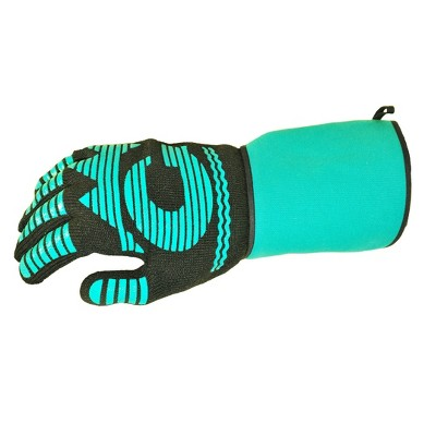 1pc Heat Resistant Bbq Grilling Cooking Glove Mitt with Easy Slip On and Off Cuff, Extra Long and Wide - G & F 1685