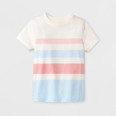 Toddler Boys' Short Sleeve T-Shirt - Cat & Jack™ Cream Stripe 12M
