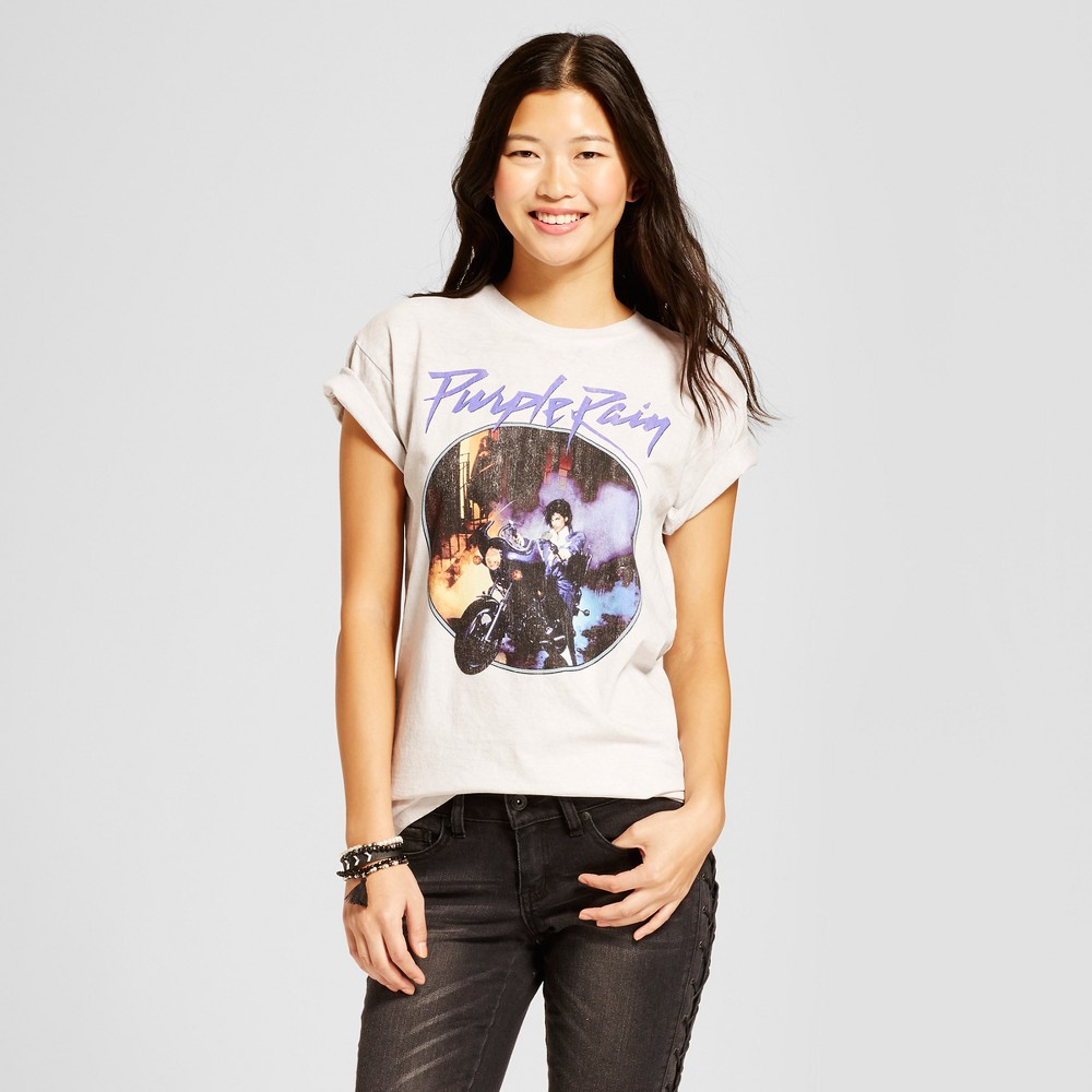 Womens Prince Purple Rain Graphic T-Shirt - Black L, Gray