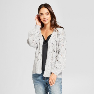 view Women's Embellished Pointelle Open Cardigan - A New Day Gray on target.com. Opens in a new tab.