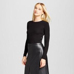 Women's Long Sleeve Side Slit Button Crew Sweater - Who What Wear™