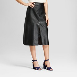 Women's Faux Leather Midi Skirt  - Who What Wear™ Black