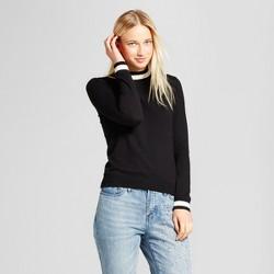 Women's Long Sleeve Mock Neck Sweater - Who What Wear™ Black/White