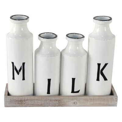 12.25 x4.5 x15.5  Enamel Milk Bottles On Wood Tray White - Foreside Home & Garden