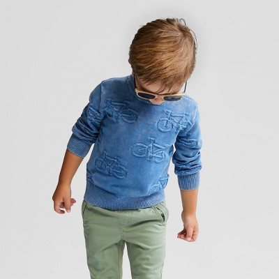 Toddler Boys' Long Sleeve Sweater - Cat & Jack™ Blue 2T