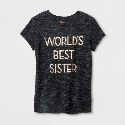 Girls' Short Sleeve World's Best Sister Graphic T-Shirt - Cat & Jack™ Black M