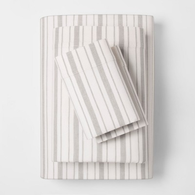 Linen Blend Stripe Sheet Set (Queen)Gray - Threshold™