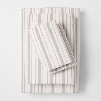 Linen Blend Stripe Sheet Set (King)Gray - Threshold™