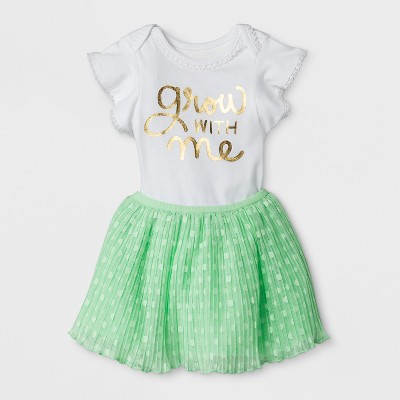 Baby Girls' Bodysuit and Chiffon Skirt Set - Cat & Jack™ Green Baby