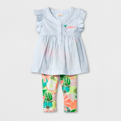 Baby Girls' Oxford and Jersey Set - Cat & Jack™ Multi Colored 3-6M