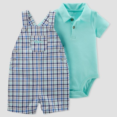 Baby Boys' 2pc Gingham Shortall Set - Just One You® made by carter's Blue/Mint NB