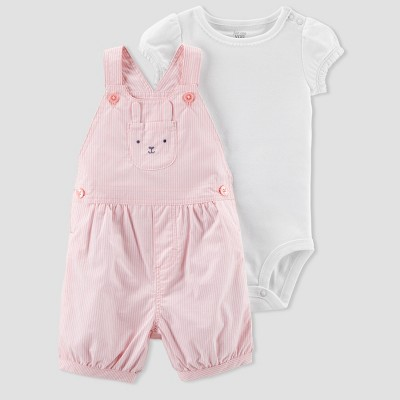 Baby Girls' 2pc Stripe Bunny Shortall Set - Just One You® made by carter's Pink 3M