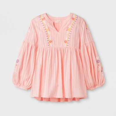 Girls' Long Sleeve Embroidered Top - Cat & Jack™ Light Pink S