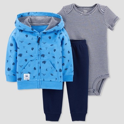 Baby Boys' 3pc Nautical Cardigan Set - Just One You® made by carter's Blue 9M