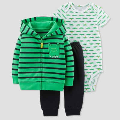 Baby Boys' 3pc Alligator Cardigan Set - Just One You® made by carter's Green 12M