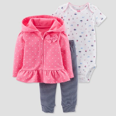 Baby Girls' 3pc Polka Dot Nautical Cardigan Set - Just One You® made by carter's Pink 6M