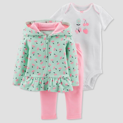 Baby Girls' 3pc Cherries Cardigan Set - Just One You® made by carter's Mint 18M