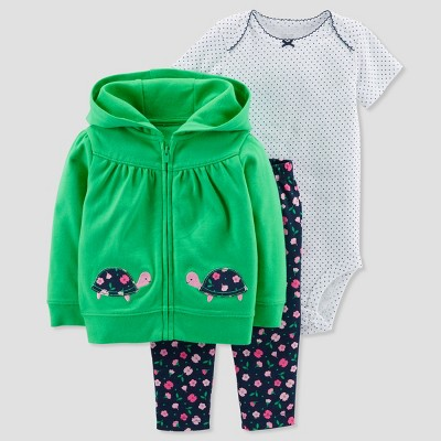 Baby Girls' 3pc Turtle Cardigan Set - Just One You® made by carter's Green/Navy 12M