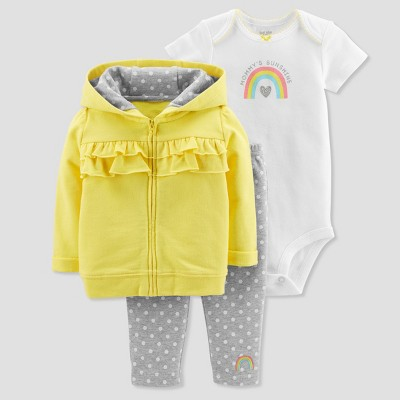 Baby Girls' 3pc Polka Dot Cardigan Set - Just One You® made by carter's Yellow/Gray 6M