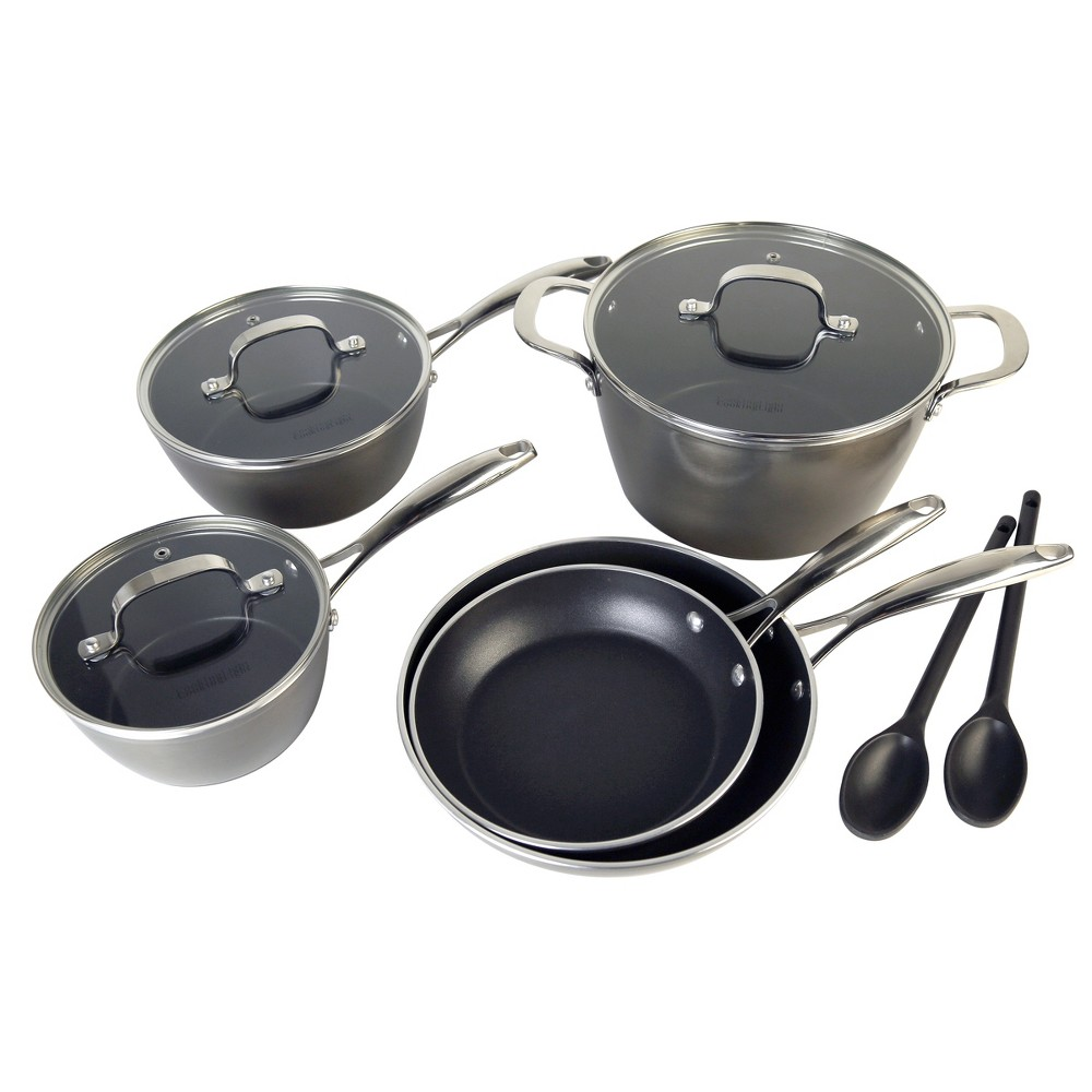Cooking Light Inspire 10pc Forged Aluminum Nonstick Cookware Set Gray, Dark Grey