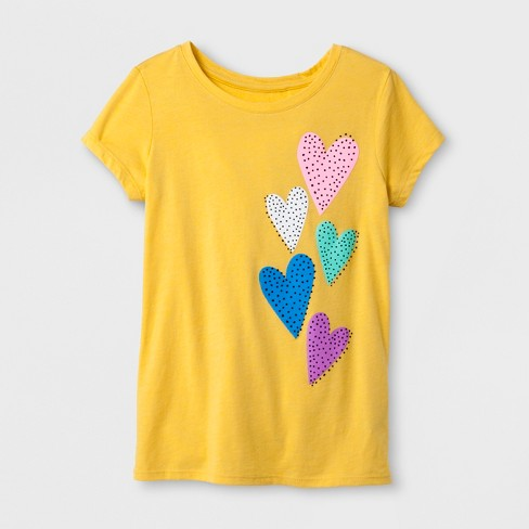Girls' Short Sleeve Hearts Graphic T-Shirt - Cat & Jack™ Yellow - image 1 of 1