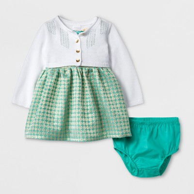 Baby Girls' 2pc Dress and Sweater Set - Cat & Jack™ Green/White 3-6M