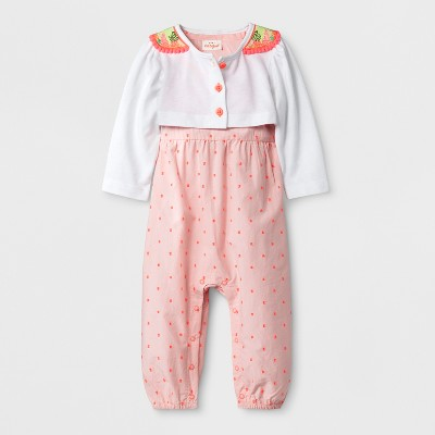 Baby Girls' Romper and Sweater Set - Cat & Jack™ Pink/White 12M