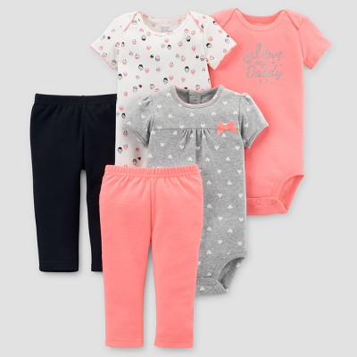 Baby Girls' 5pc Polka Dot Bundle - Just One You™ Made by Carter's® Pink/Black 6M