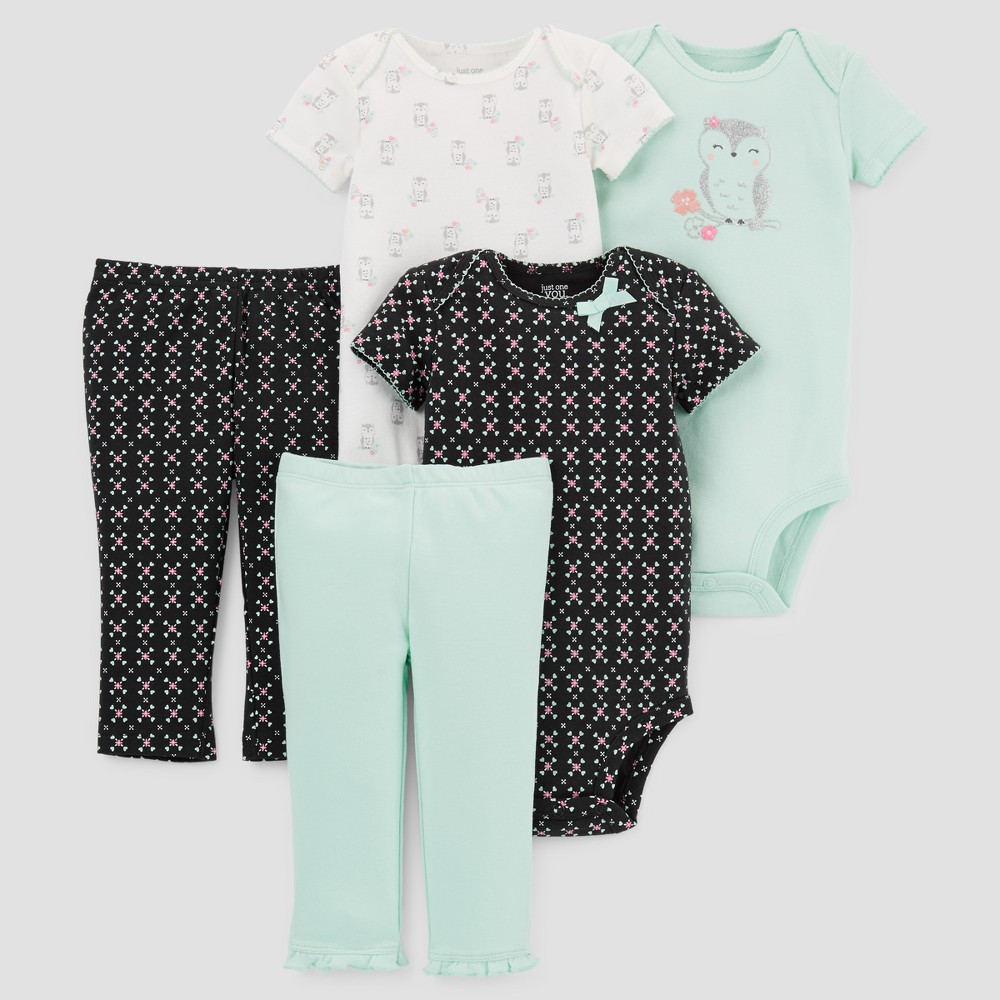 Baby Girls 5pc Owl Bundle - Just One You Made by Carters Mint/Black 9M, Green