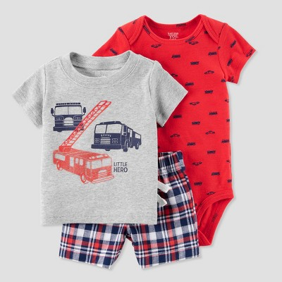 Baby Boys' 3pc Firetruck Diaper Cover Set - Just One You® made by carter's Red/Gray 9M