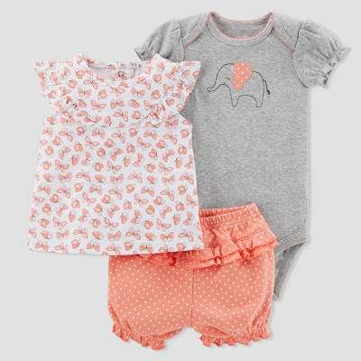 Baby Girls' 3pc Elephant Diaper Cover Set - Just One You® made by carter's Pink 12M
