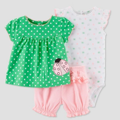 Baby Girls' 3pc Ladybug Diaper Cover Set - Just One You® made by carter's Pink/Green 3M