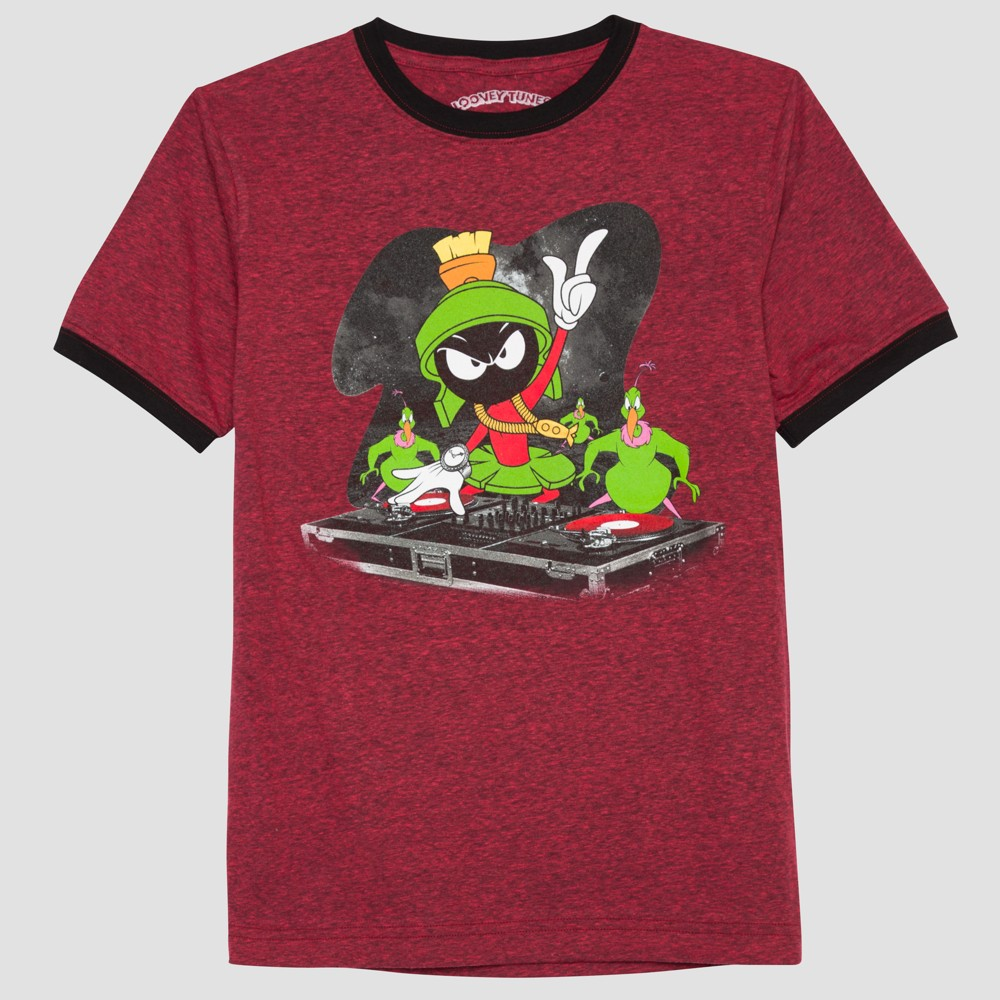 Boys Looney Tunes Marvin the Martian Short Sleeve T-Shirt - Berry Blush S, Red