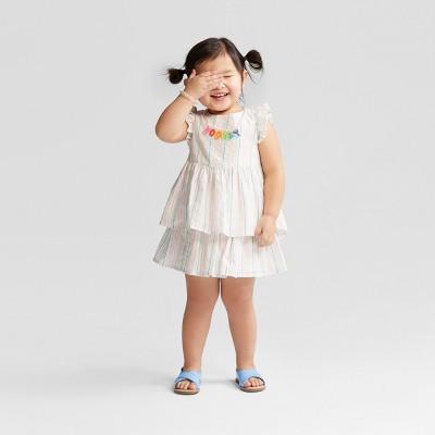 Toddler Girls' Striped Tank & Skirt Set - Cat & Jack™ White 12M