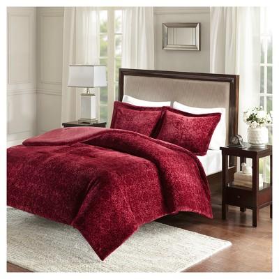 Burgundy Lillian Medallion Plush Comforter Set (King)- JLA Home