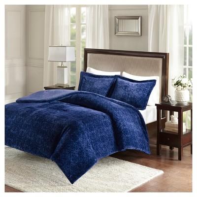 Navy Lillian Medallion Plush Comforter Set Full/Queen
